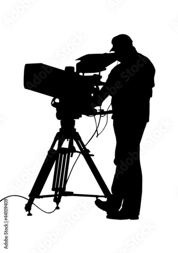 TV Camera and Operator Silhouette