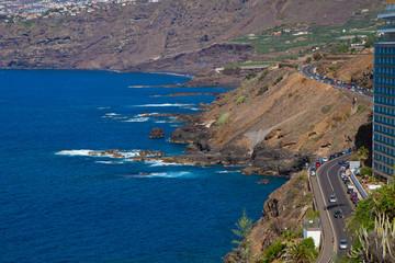 ocean coast at Puerto de la Cruz, Tenerife, Spain