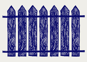 Wooden fence. Sketch