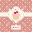 vector invitation with capcake