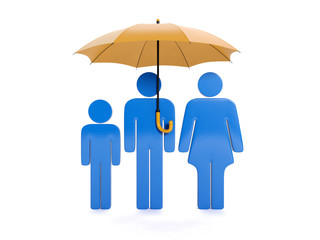 3d illustration: Insurance and protection of seven. Family under