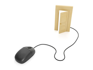 3d illustration internet technology. Computer mouse and the door