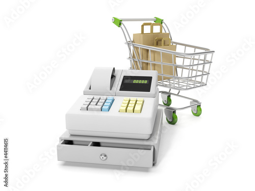 3d illustration: Sale and purchase. Cash mashines and shopping c