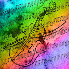 drawing on watercolor background of violin and sheet music