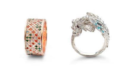 Elegant  female  rings isolated over white