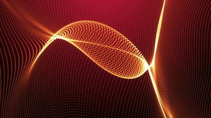 Wave fractal red background.