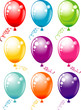 Vector colorful party balloons isolated on white background