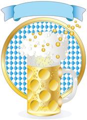 caraffa di birra con striscione