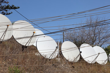 Satellite dishes and cables