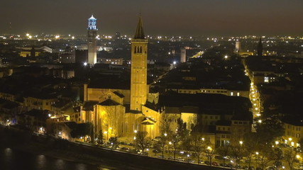 Timelapse of Verona by night, Italy