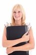 Smiling beautiful blonde woman holding black leather folder