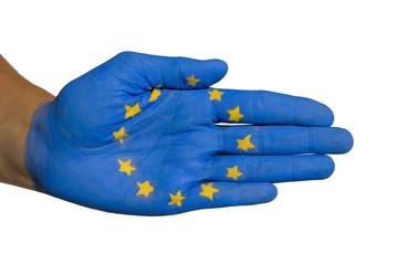 Hand auf die Europaflagge gemalt ist