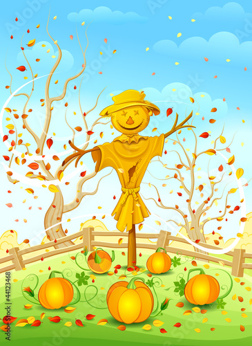 Scarecrow in garden. Vector illustration