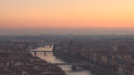 Aerial view of Verona in twilight, Italy
