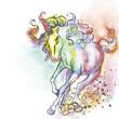 Free horse run in rainbow colors