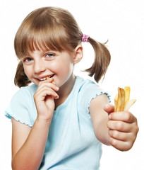 little girl eating a french fries