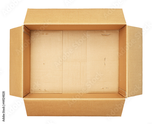 Top view of carton box isolated on white background