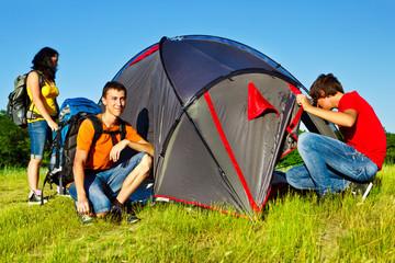 Three teenage backpackers