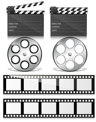 Clap Board and Film Reel Vectors