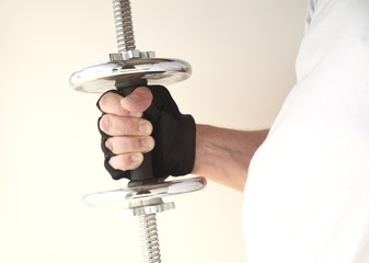 weight in man's hand