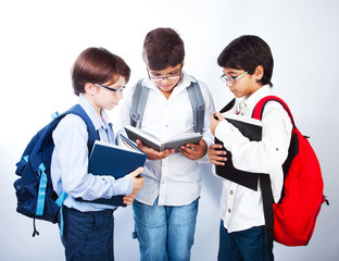 Three cute schoolboys read books