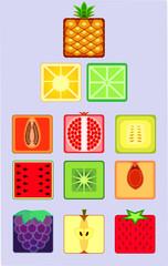 Сет стилизованных фруктов