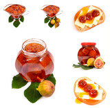 fig jam in glass with  on white background