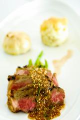 Lamb steak with mashed potato