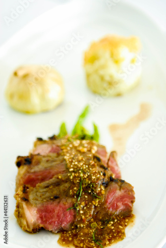 Lamb steak with mashed potato