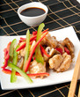 Stir fry chicken with sweet peppers and mushrooms
