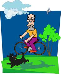 Дедушка на велосипеде