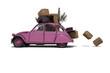 Umzug mit überladenem Auto 3D