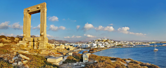 panorama of Naxos island, Greece