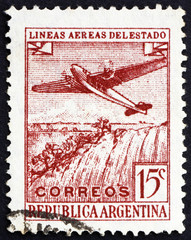 Postage stamp Argentina 1946 Plane over Iguazu Falls