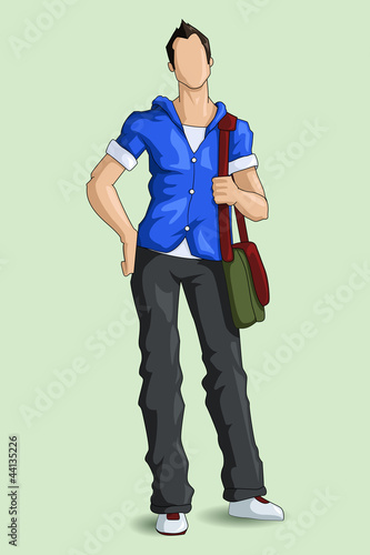 vector illustration of young male student with bag