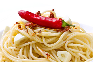 pasta garlic olive oil and red chili pepper
