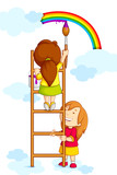 vector illustration of kids painting rainbow in clouds