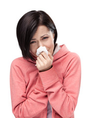 Sick attractive woman holding wipe in her hands, isolated