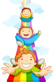 Fototapety vector illustration of kids sliding on rainbow in sky