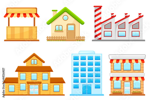 vector illustration of set of different building model