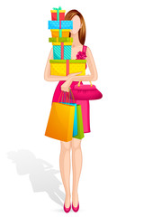 vector illustration of lady with gift colorful box