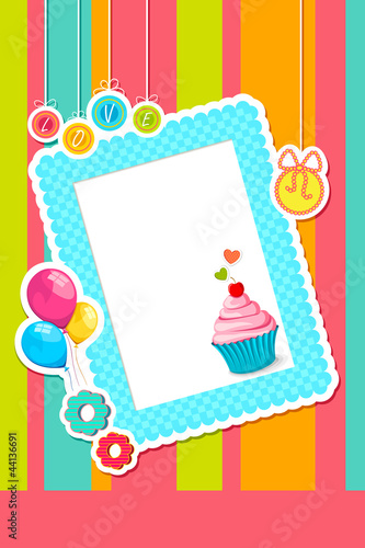 vector illustration of birthday card with scrapbook element