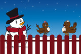 Snowman and birds to the garden fence