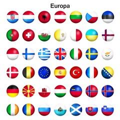 Europa Flaggen Set, glänzend rund