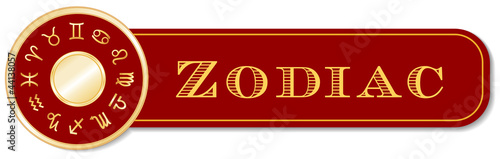 Zodiac Banner, 12 astrology sun signs, gold horoscope mandala
