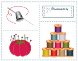 Silver needle, thimble, threads, ribbons, pins for sewing, diy poster