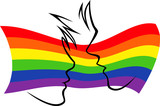 Gay flag with silhouetted couple