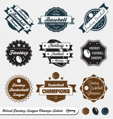Vector Set: Mixed Fantasy Sport League Champion Labels