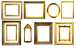 Set of gold picture frames. Isolated over white background