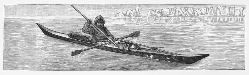 Vintage drawing of a  Eskimo kayak - late 1800's